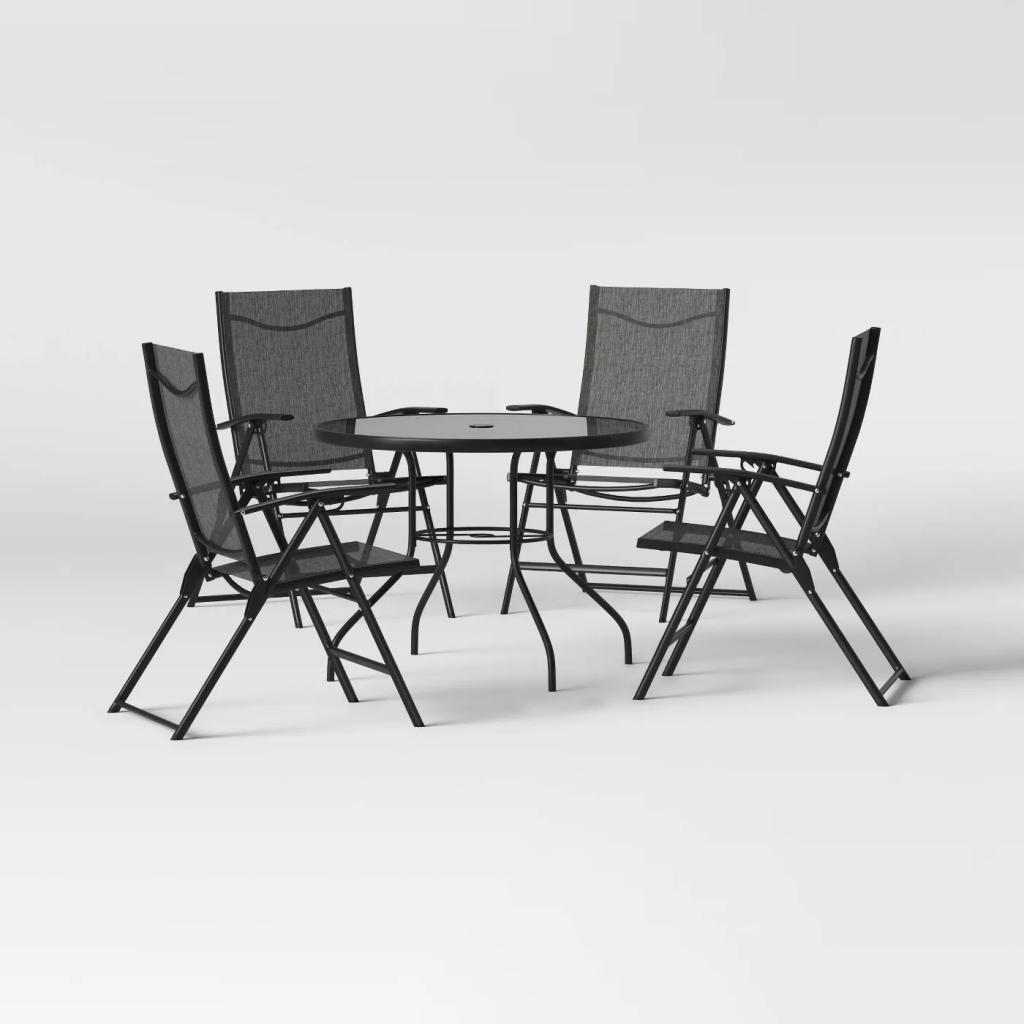 Kingman 5pc Sling Folding Patio Dining Set