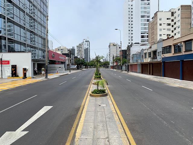 Empty Lima street during coronavirus quarantine