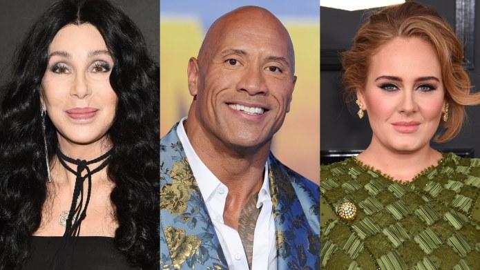 Cher, Dwayne Johnson, Adele