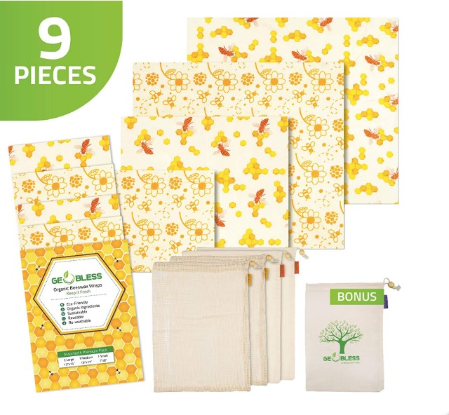 Geobless Beeswax Wraps and Reusable Produce Bags