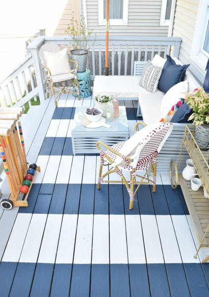 blue and white striped outdoor deck