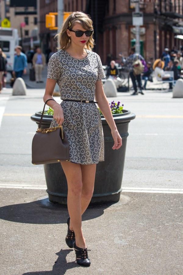 Taylor Swift wearing patterned dress