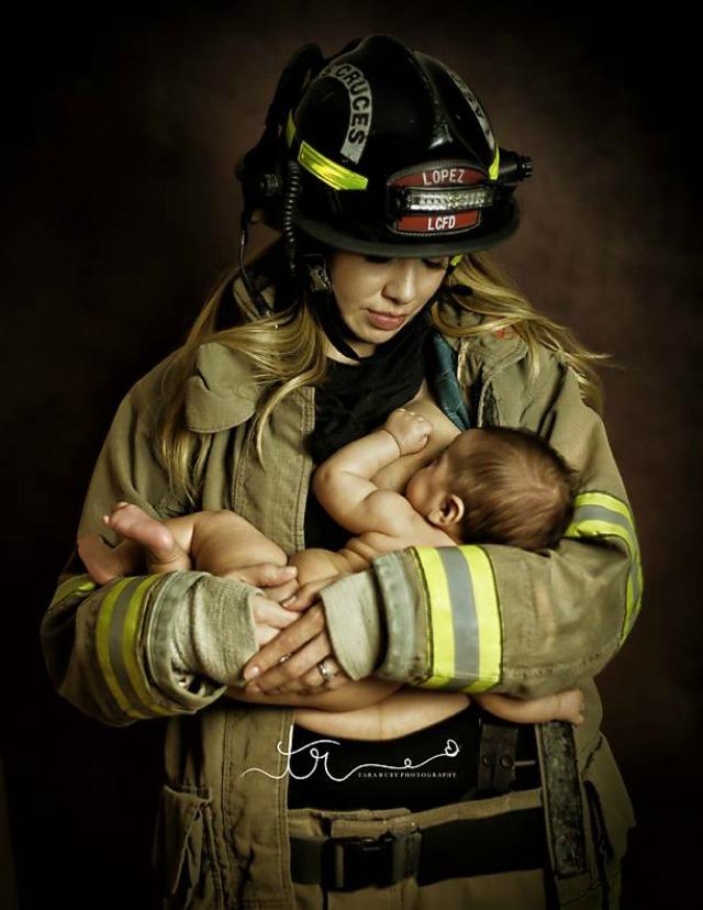 Breastfeeding firefighter image by Tara Ruby