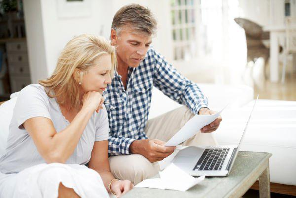 couple looking at finance