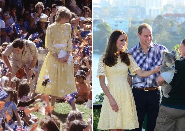 Princess Diana and Kate Middleton wearing yellow