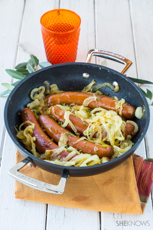 Mustard sausage and onions in a skillet recipe
