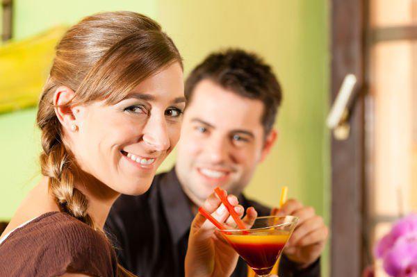 woman flirting at a bar