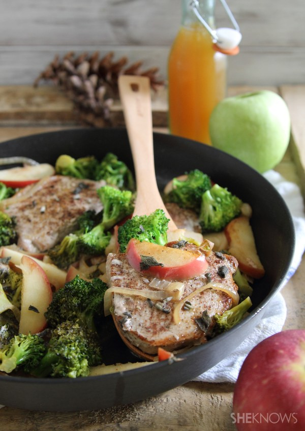 Skillet seared cider pork with apples and broccoli