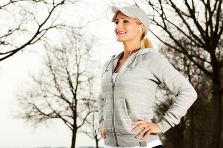 Woman jogging in the cold
