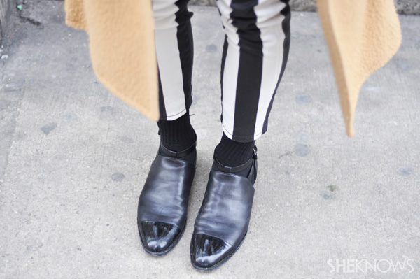 If you're feeling bold, a contrast between matte and patent leather is always amazing.