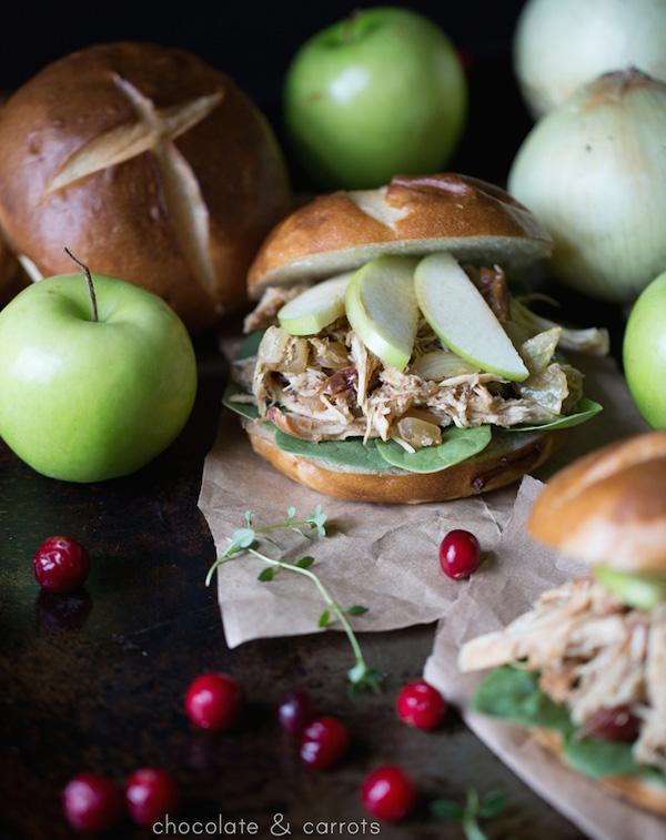 Slow cooker autumn apple chicken sandwiches