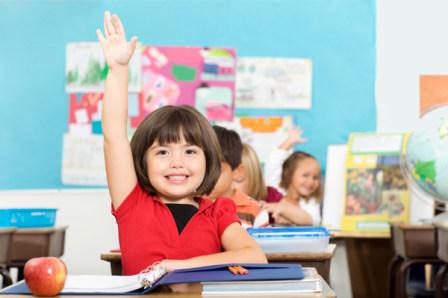 Child raising her hand