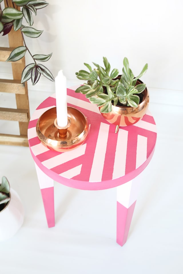 Pink and patterned stool