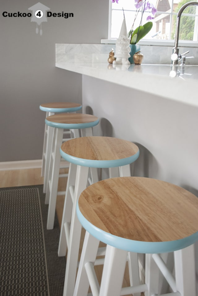 blue edged counter stools