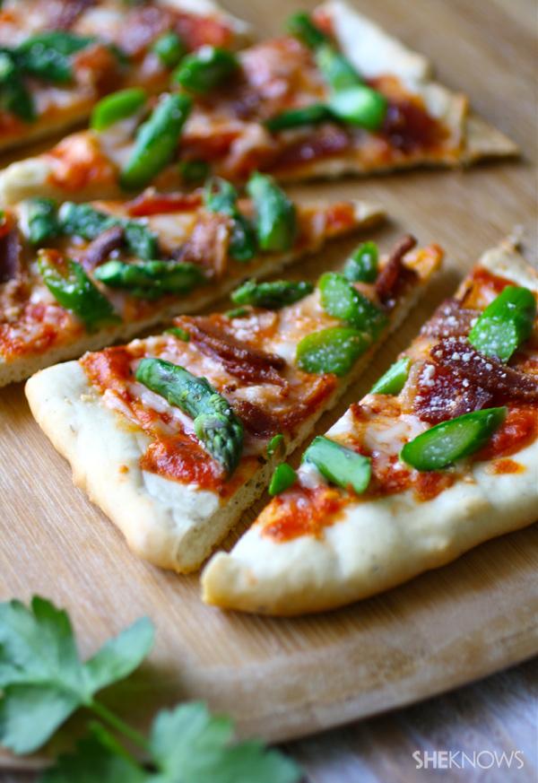Asparagus and bacon flatbread