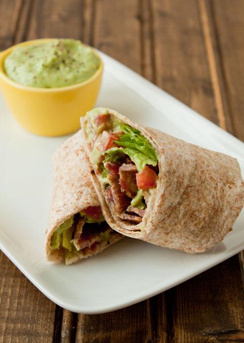BLT wrap with avocado mayonnaise
