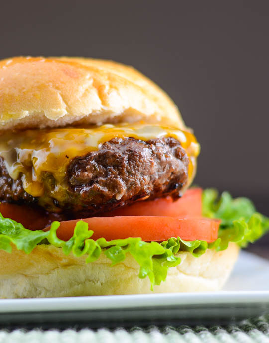 Asian BBQ burger with sriracha mayo