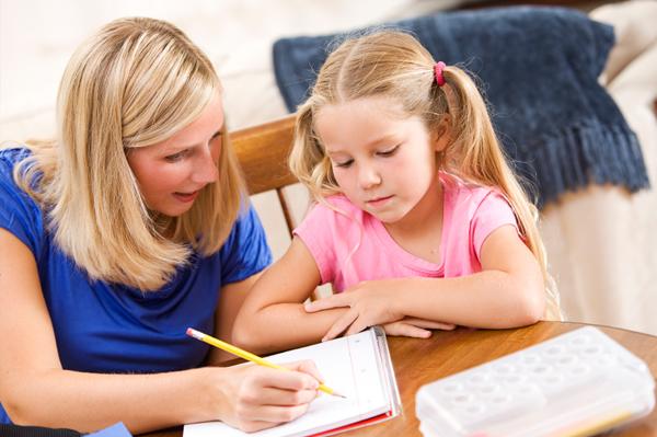 Girl being homeschooled