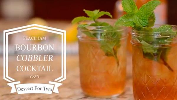 Peach jam bourbon cobbler cocktail