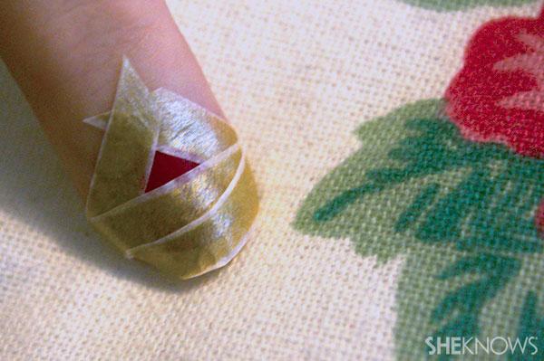 Christmas tree nail art tutorial Step 6 form triangle at base of nail