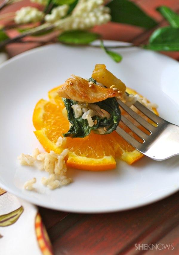 Orange-glazed chicken with bok choy
