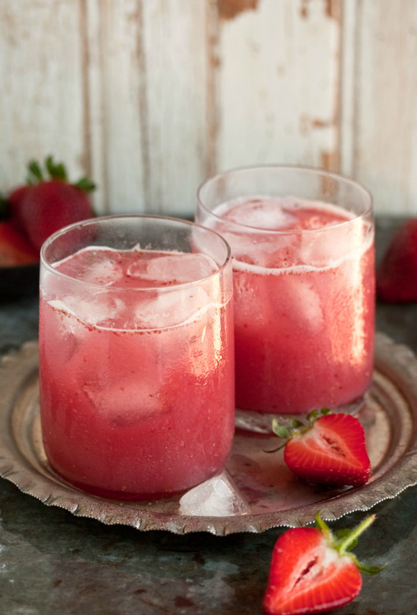 Strawberry and coconut water cocktail