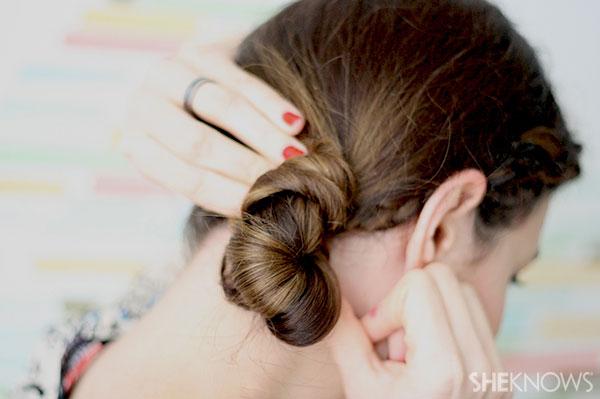Half crown braid tutorial Step 9 twist hair into bun