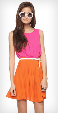 color broomstick dress from Forever 21