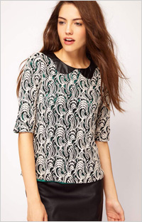 Our pick: Faux Leather Collar Lace Top (ASOS, $57)