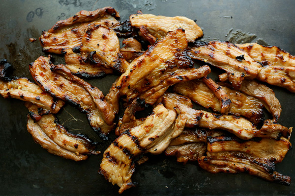 Chili glazed grilled pork belly strip tacos