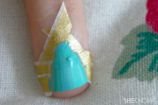 Christmas tree nail art tutorial Step 4 paint in teal