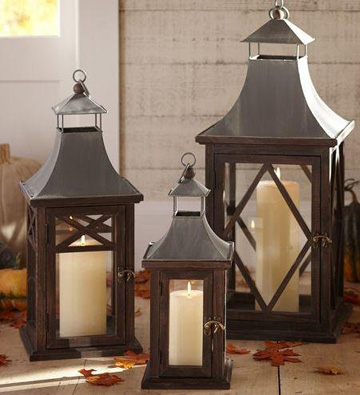 Kingston lanterns (Pottery Barn, $50 - $129)