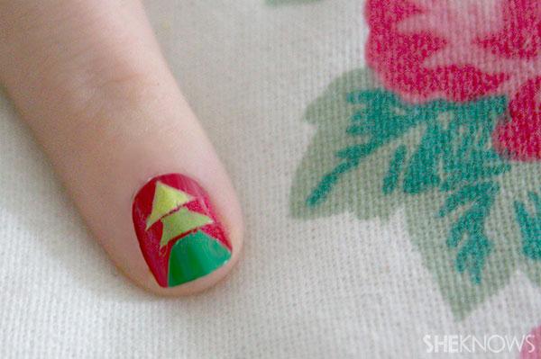 Christmas tree nail art tutorial Step 11 peel away tape