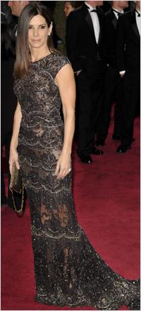 Sandra Bullock wearing lace gown