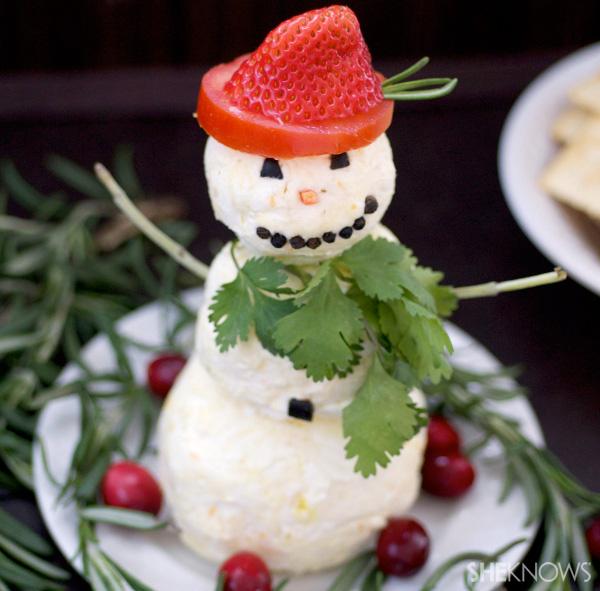 Festive snowman cheese ball