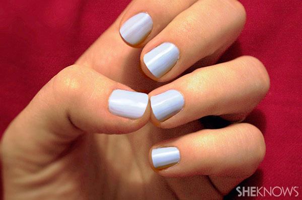 Rudolph nail art tutorial Step 1 paint nails blue