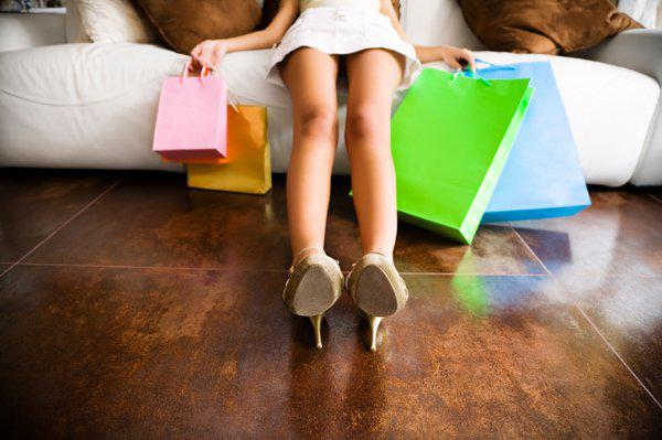 woman tired of shopping