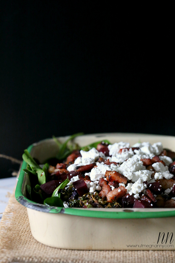Crispy roasted Brussels sprouts, beet, and bacon salad
