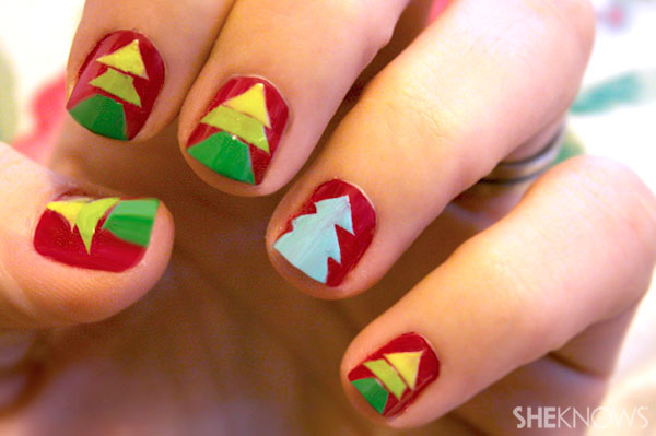 Christmas tree nail art tutorial Step 12 repeat on rest of nails