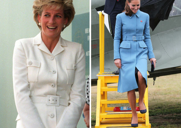 Princess Diana and Kate Middeton wearing suits