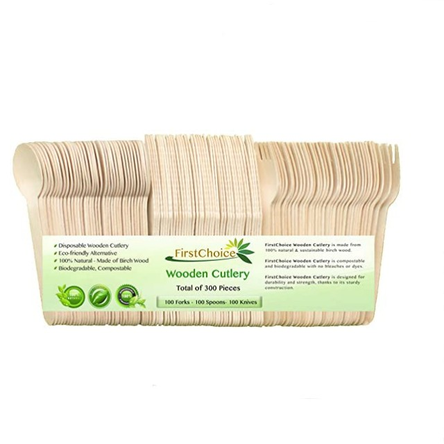 FirstChoice EcoNaturals Disposable Wooden Cutlery Set