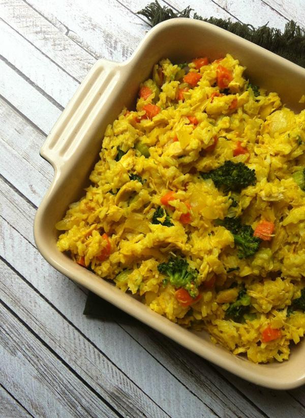 Curried chicken rice casserole