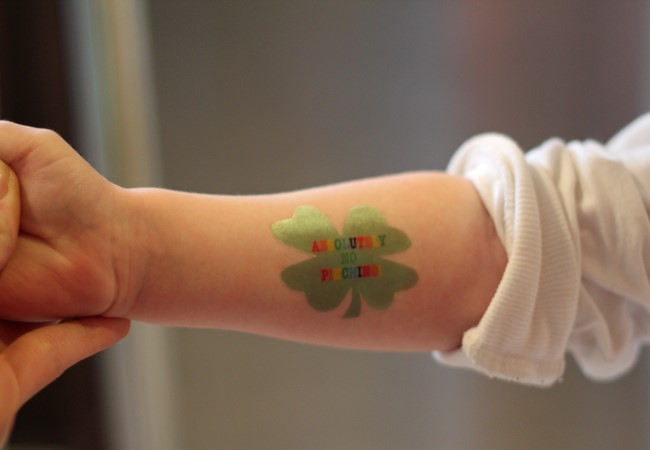 Leprechaun in Your House: Four Leaf Clover Temporary Tattoo