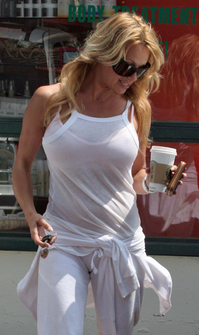 starbucks celebs - Pamela Anderson