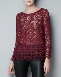 My pick:Guipure top with open back, $90, Zara.com