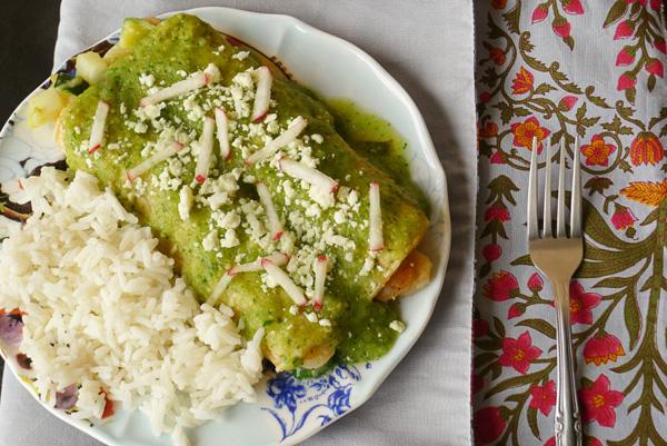 Green enchiladas stuffed with shrimp & veggies