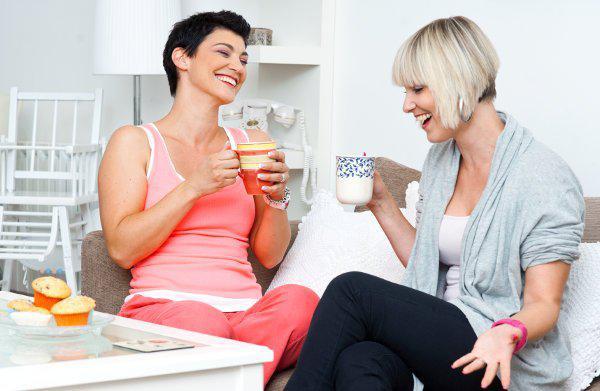 two happy woman friends