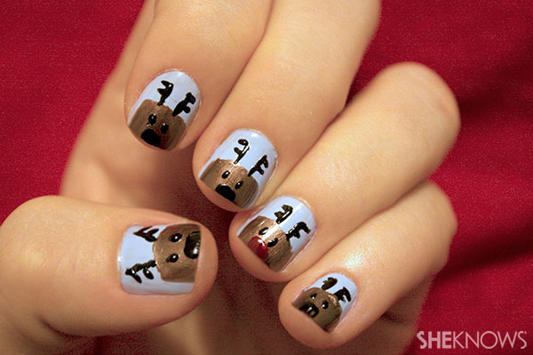 Rudolph nail art tutorial Step 5 add noses