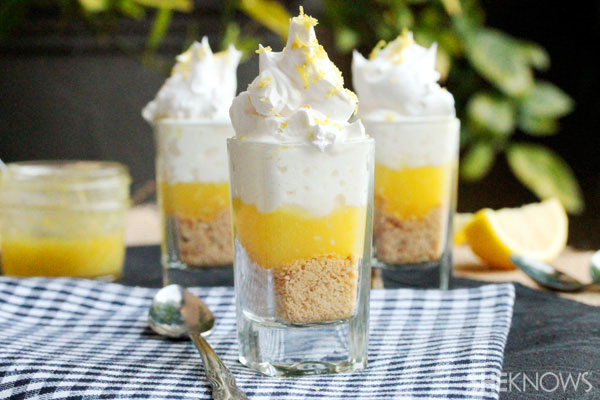 Tangy lemon and shortbread dessert in a glass recipe