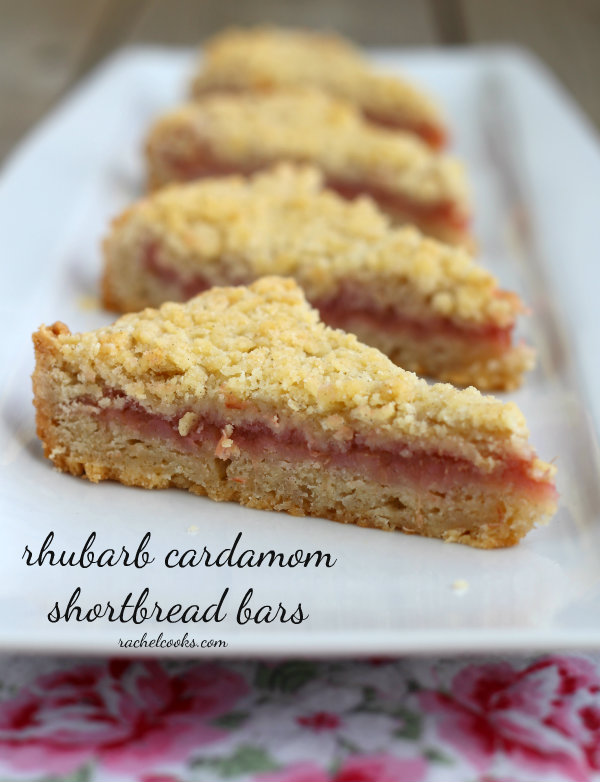 Rhubarb cardamom shortbread bars